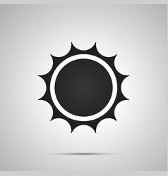sun with spiny rays simple black icon with shadow vector image