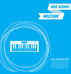 synthesizer icon on a blue background with vector image