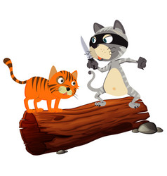 Two cats on log one bad and one victim vector