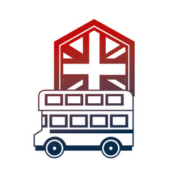 united kingdom double deck bus and flag vector image