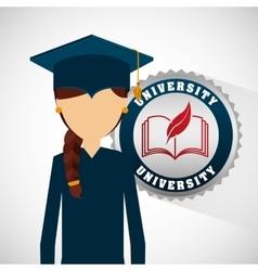 University student graduation emblem vector