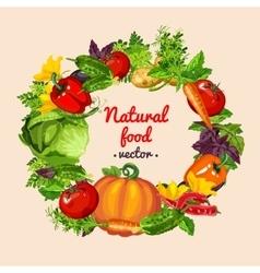 Vegetable mix wreath natural food vector