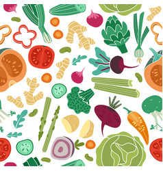 vegetables seamless pattern vegan healthy meal vector image