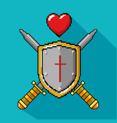 Video game shield and heart design vector