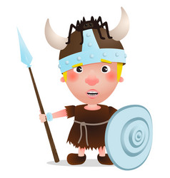 Viking warrior with spider on hat vector