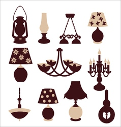 vintage lights chandeliers and table lamps vector image