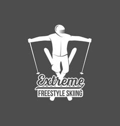 Vintage skiing label and design elements vector