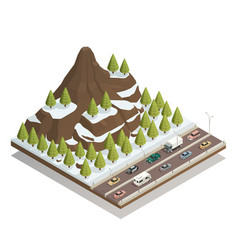 Winter mountains landscape isometric composition vector