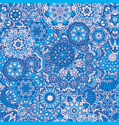 Winter snowflakes damask flower seamless pattern vector