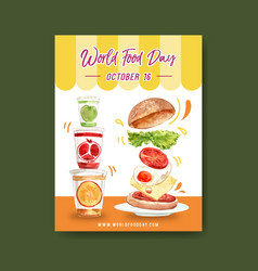 World food day poster design with hamburger juice vector