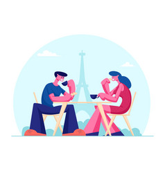 young couple drinking coffee in outdoors cafe in vector image