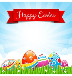 Happy easter egg text with ribbon on Nature vector image