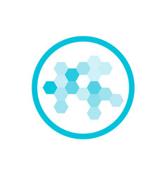 nanotechnology blue round icon vector image