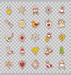 set of christmas iconsstarbellwreathapplesock vector image