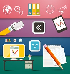 Technology Icons Set Computer and Business Symbols vector image