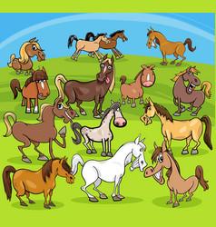 cartoon horses farm animals group vector image vector image