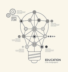Flat linear Infographic Education Outline lightbul vector image