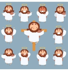 Set of Jesus flat icons vector image