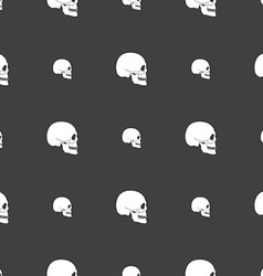 Skull sign Seamless pattern on a gray background vector image