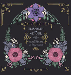 wild flowers wedding invitation design vector image vector image