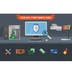 Computer service banner vector