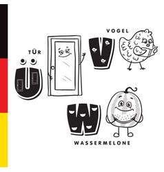deutsch alphabet door bird watermelon vector image