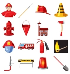 Fire Department icons set cartoon style vector image