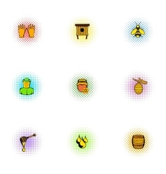 Apiary icons set pop-art style vector image vector image