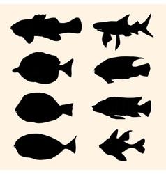 fish set Icons vector image