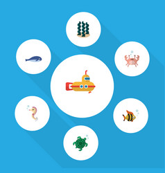 Flat icon nature set of cancer seafood alga and vector