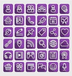 Flat Icons Social Media Purple Set vector image