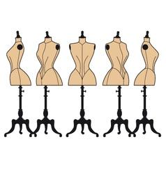 vintage fashion mannequins set vector image