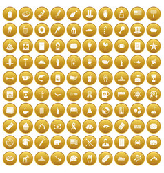 100 usa icons set gold vector