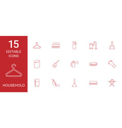 15 household icons vector