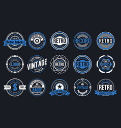 15 retro vintage badges design collection vector