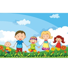 A family strolling in the garden vector