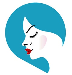 A ladys face in a blue placement- beauty logo vector image