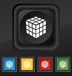 A three sided cube puzzle box in 3D icon symbol vector