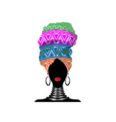 African scarf afro woman in a geometric turban vector