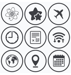 Airplane icons World globe symbol vector image