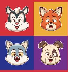 animals heads cartoons vector image