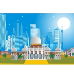 Arabic Palace on the background of the modern city vector image
