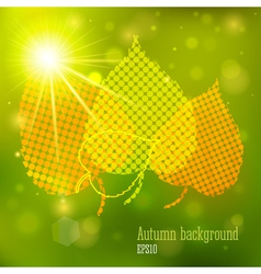 Autumn background with lights and yellow leaves vector