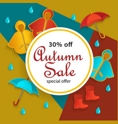 autumn fall sale banner flat cartoon elements vector image