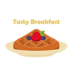 Belgian chinese waffle - chocolate cream berries vector