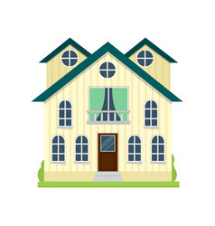 big american yellow cottage with big rooms and vector image