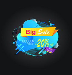 big sale and discount shop 20 percent off price vector image