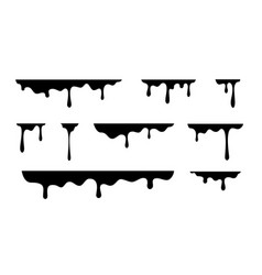Black spray melt drips or liquid paint drops vector