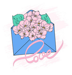 bouquet spring floral cartoon vector image
