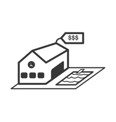 building with label icon real estate design vector image